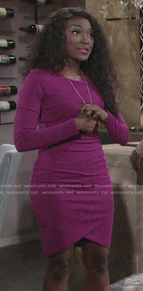 Ana's magenta long sleeved dress on The Young and the Restless