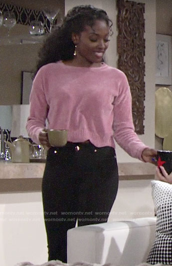 Ana's pink scalloped sweater on The Young and the Restless