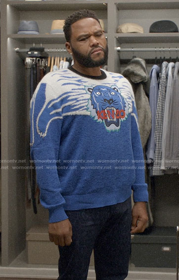 Andre's blue Kenzo tiger sweater on Black-ish