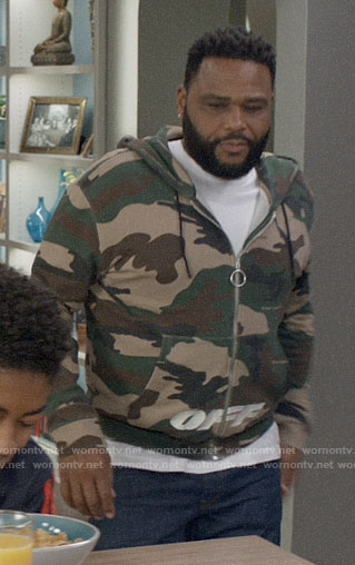 Andre's camo print hoodie on Black-ish