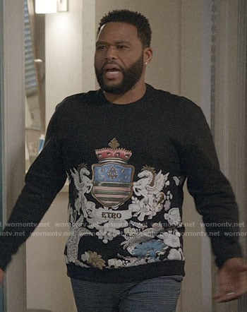 Andre's crown print sweatshirt on Black-ish
