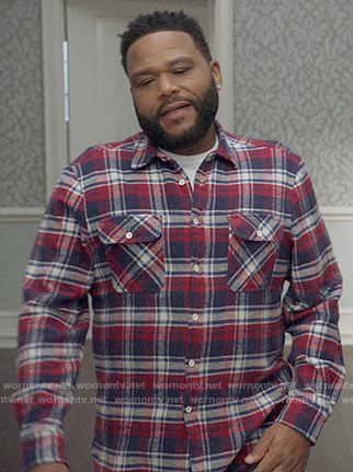 Andre's red and navy plaid shirt on Black-ish