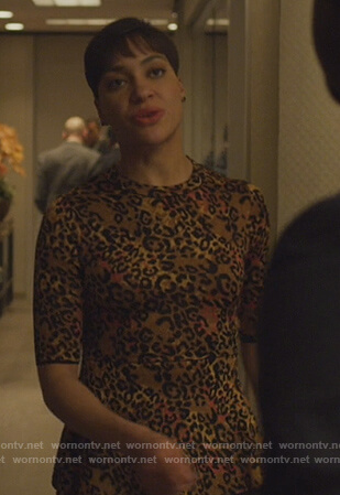 Lucca's leopard print top and skirt on The Good Fight