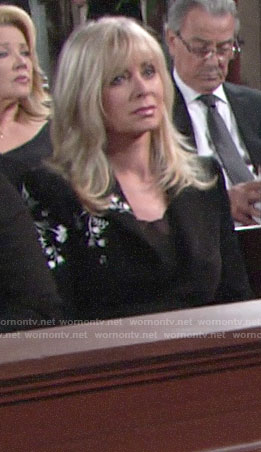 Ashley's black and white embroidered blazer on The Young and the Restless