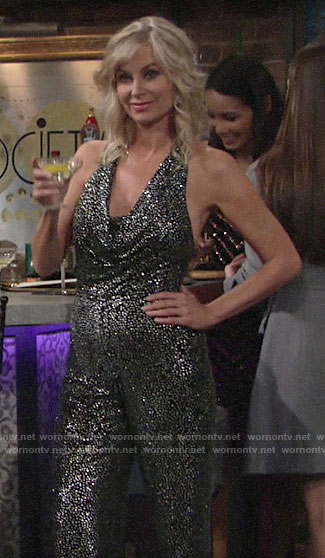 Ashley's metallic dotted halterneck jumpsuit on The Young and the Restless