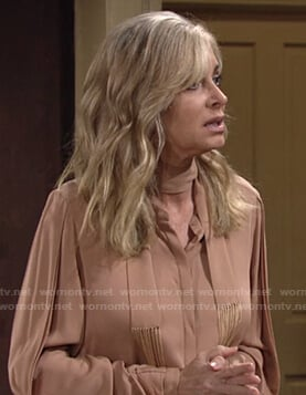 Ashley's nude tie neck blouse on The Young and the Restless