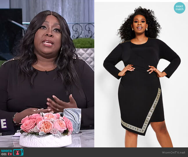 Greek Key Trim Faux Wrap Dress by Ashley Stewart worn by Loni Love  on The Real