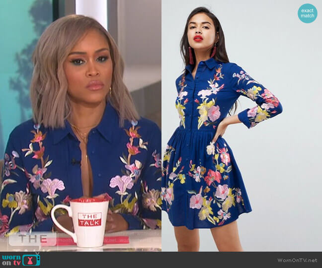 Embroidered Button Through Shirt Skater Mini Dress by Asos Premium worn by Eve  on The Talk