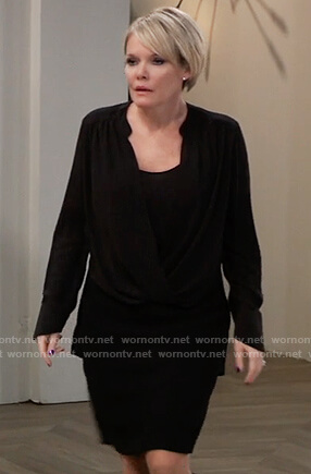 Ava's black draped front blouse on General Hospital