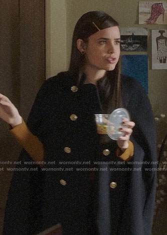 Ali's floral top and navy pinstripe blazer on Pretty Little Liars The Perfectionists