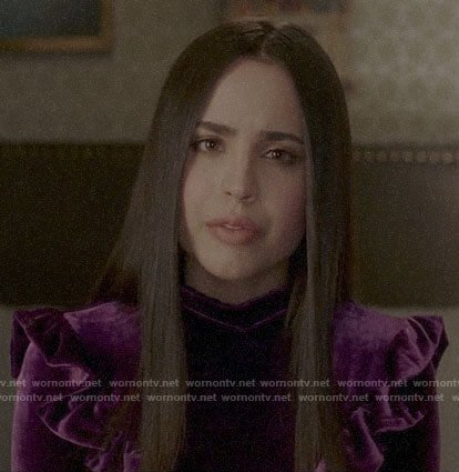 Ava's purple velvet dress with ruffles on Pretty Little Liars The Perfectionists