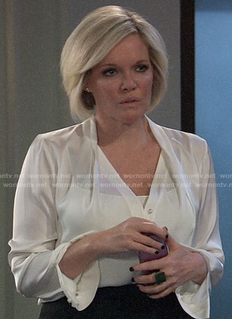 Ava's white v-neck blouse on General Hospital