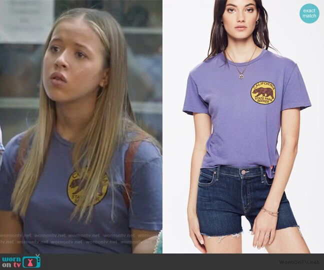Small California Bear Circle Boyfriend Tee by Aviator Nation worn by Samantha Hughes (Holly Barrett) on Life in Pieces
