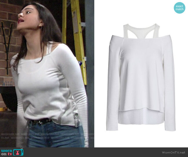 Bailey 44 Cold-shoulder Mesh-trimmed Top worn by Lola Rosales (Sasha Calle) on The Young & the Restless