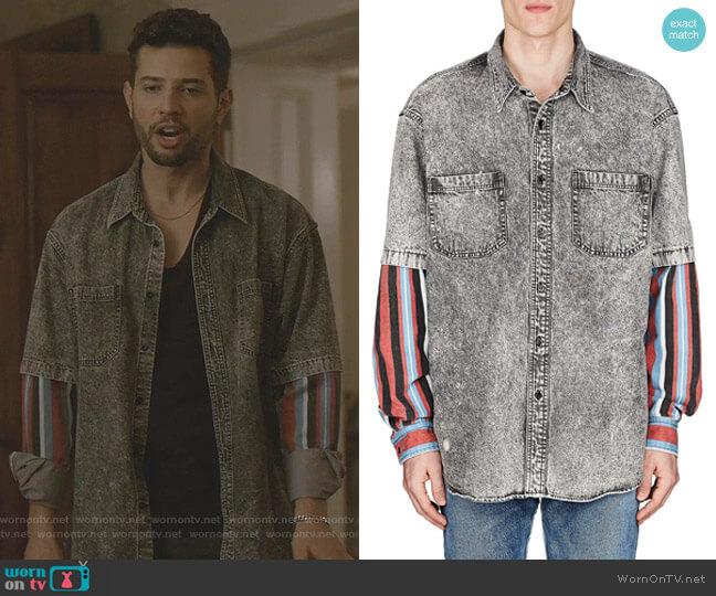 Denim Layered-Look Shirt by Balenciaga worn by Sam Flores (Rafael de la Fuente) on Dynasty