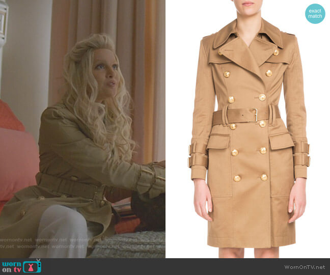 Double-Breasted Golden-Button Belted Trench Coat by Balmain worn by Alexis Carrington (Elaine Hendrix) on Dynasty