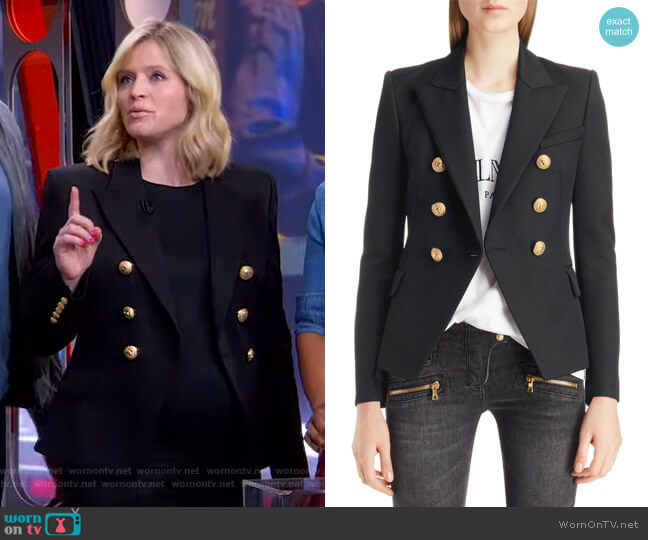 Double Breasted Wool Blazer by Balmain worn by Sara Haines  on Good Morning America