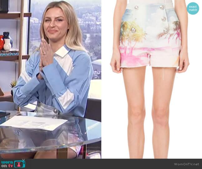High-Waist 6-Button Palm-Print Shorts by Balmain worn by Morgan Stewart  on E! News