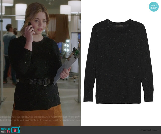 Metallic Wool-Modal Sweater by Banana Republic worn by Alison DiLaurentis (Sasha Pieterse) on PLL The Perfectionists