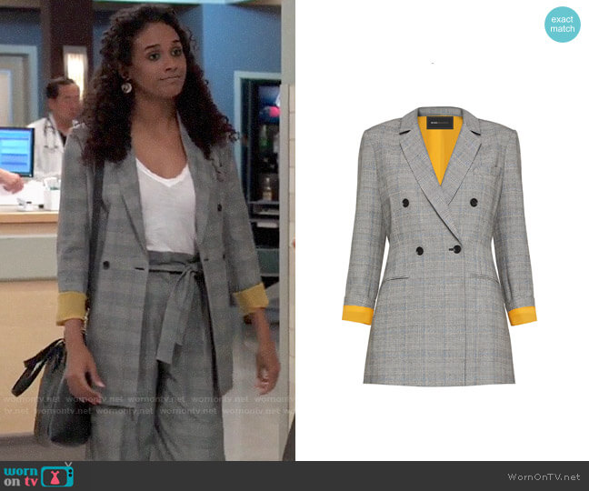 1b3076aea869f7 Bcbgmaxazria Houndstooth Double-Breasted Blazer worn by Jordan Ashford  (Briana Nicole Henry) on