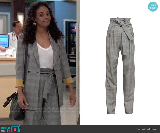 Bcbgmaxazria Houndstooth Paperbag Waist Trouser worn by Jordan Ashford (Briana Nicole Henry) on General Hospital
