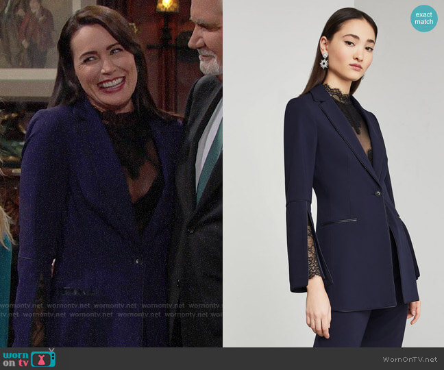 Bcbgmaxazria Pleather-Trimmed Blazer worn by Quinn Fuller (Rena Sofer) on The Bold & the Beautiful