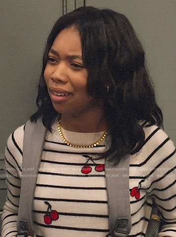 Becky's striped cherry print sweater on No Good Nick