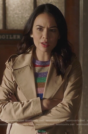 Mona's rainbow stripe sweater and lace-up back trench coat on Pretty Little Liars The Perfectionists