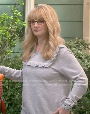 Bernadette's grey ruffled trim sweatshirt on The Big Bang Theory