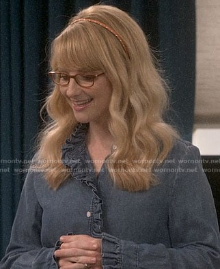 Bernadette's ruffled denim shirt on The Big Bang Theory