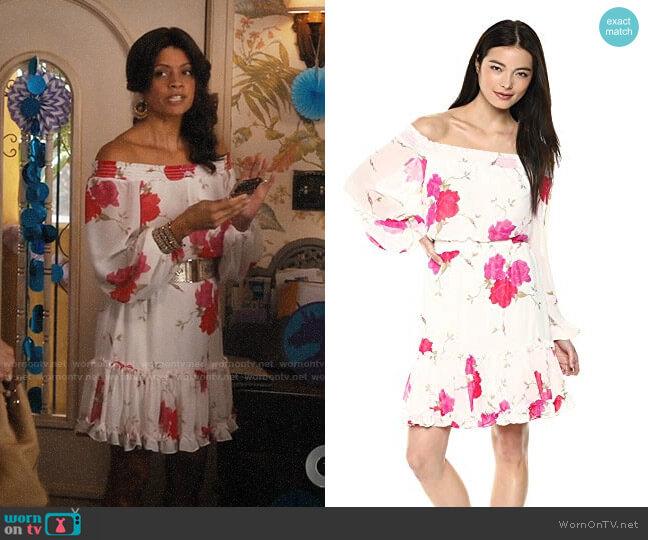 Betsey Johnson Off The Shoulder Floral Chiffon Dress worn by Xiomara Villanueva (Andrea Navedo) on Jane the Virgin