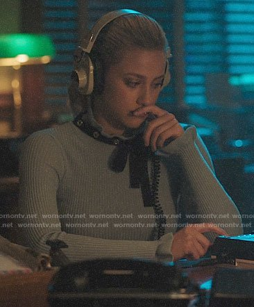 Betty's blue sweater with black tie neck on Riverdale