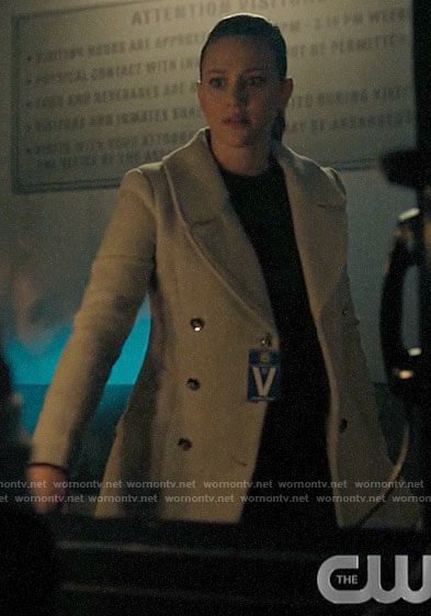 Betty's grey coat with silver buttons on Riverdale