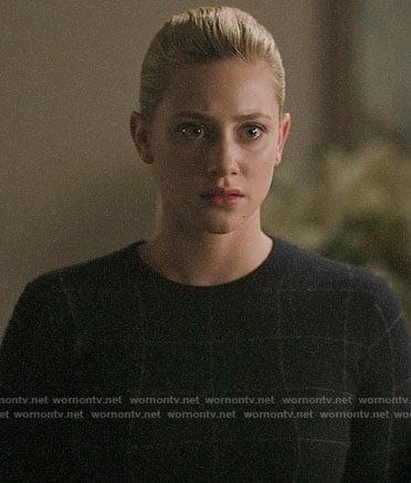 Betty's navy windowpane check sweater on Riverdale