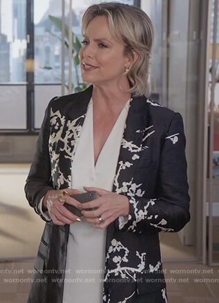 Jacqueline's black floral blazer on The Bold Type