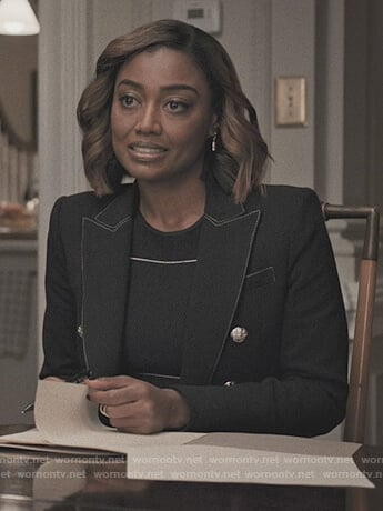 Daisy's navy contrast blazer on Madam Secretary