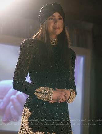 Ava's black embellished mini dress on Pretty Little Liars The Perfectionists