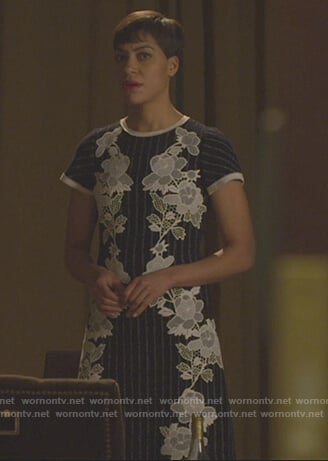 Lucca's black floral lace dress on The Good Fight