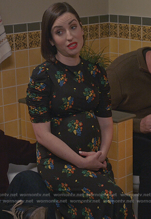Jen's black floral maternity dress on Life in Pieces