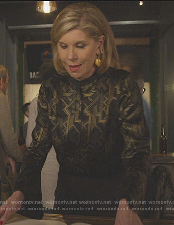 Diane's black geometric top on The Good Fight