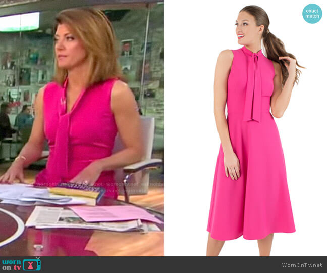 Black Halo Carolina Dress worn by Norah O'Donnell  on CBS This Morning