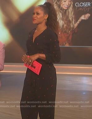 Eve's black heart print jumpsuit on The Talk