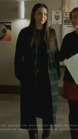 Ava's black checked coat on Pretty Little Liars The Perfectionists