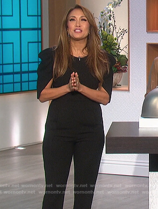 Carrie's black puff sleeve jumpsuit on The Talk