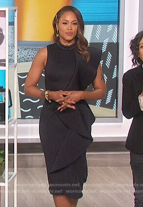 Eve's black ruffle dress on The Talk