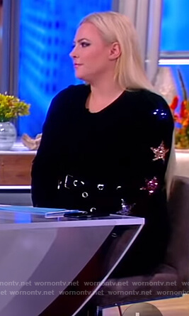 Meghan's black star embellished sweater on The View