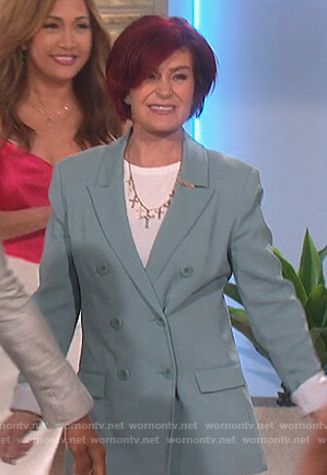 Sharon's teal double breasted blazer on The Talk