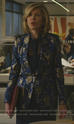 Diane's blue metallic blazer on The Good Fight
