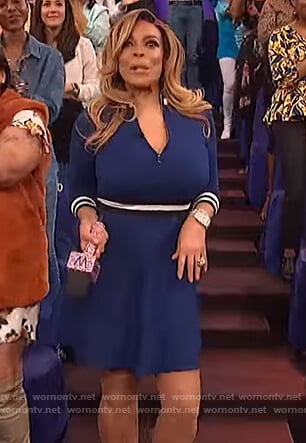 Wendy's blue contrast stripe dress on The Wendy Williams Show