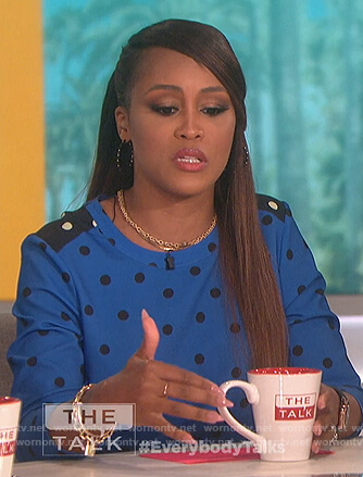 Eve's blue polka dot dress on The Talk